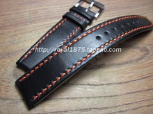 Pretty Upscale 20 21 22mm Watchbands Strap Genuaine Leather Orange line for IWC Tissot Seiko Bracelets Stainless steel Buckle(China)