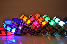 Pets Dogs Nylon Night Safety Rhombus Pattern Collar Light Night Up Bright Flashing LED Adjustable Collars S M L XL Wholesales