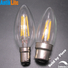 Small/Large European Bayonet Cap BC B15/B22 Torpedo/Candle Flame Style B35/CA35/BA35 C35 Clear Glass LED Filament Light Bulb 4W(China)