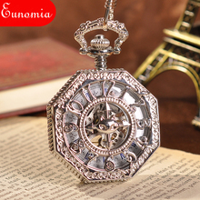 Antique Fashion Watch Hand Wind Pocket Watch Skeleton Watch Steampunk Mechanical Skeleton Steel Womens Silver Pocket Watch