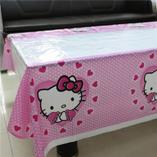 New year 180*108cm Hello Kitty Plastic Tablecloth for Cartoon kids happy birthday party plastic tablecover supplies disposable