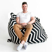 Cover only  No Filler -	Crashmats black and white chevron outdoor beanbags , large bean bag cushion , no beans inside