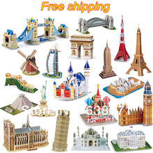Hot sale Puzzle Toy 3D Jigsaw Puzzle Famous Building Model Puzzle for Kid's Educational Toy 23 style for selection