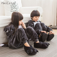 Children Kigrumi Pajama Timber Wolf Onesie Animal Cosplay Costume Black Party Suit Boy Girl Sleepwear Winter Warm Flannel Fancy(China)