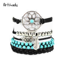 Artilady leather bracelets set 5pcs vintage stone beads dreamcatcher bracelet handcraft bangles for women jewelry(China)