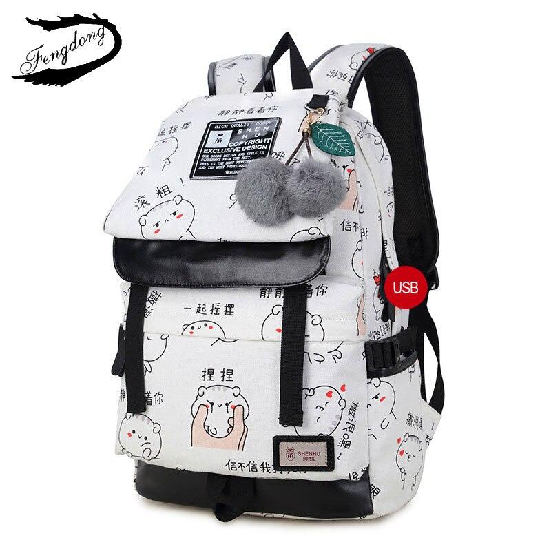 Cute Lightweight Canvas Bookbags Water Resistant School Backpacks Most Durable School Bag for Teenage Girls and kids<br>