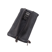 Genuine Leather Large Car Key Holder Vintage Men Checked Wallet Zipper Pouch Organizer Keychain Housekeeper Case Bag