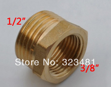 "12pcs/lot Male 1/2"" Female 3/8"" Brass Reducing Bushing Coupling Fittings Unequal Threads Pipe Fittings Free Shipping"