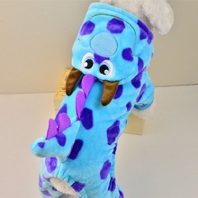Pet Dog Dragon Costume Puppy Flannel Jumpsuits & Romper Teddy Cute Cartoon Jacket Coat Pet Warm Soft Clothes For Autumn Winter
