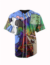 Real American Size  regular show loud  3D Sublimation Print Custom made Button up baseball jersey plus size