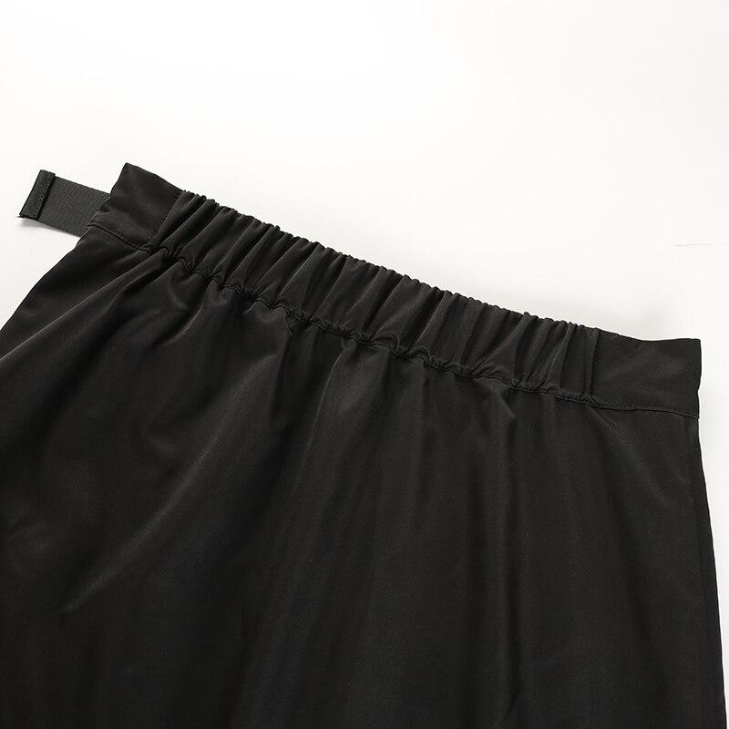 11Sweetown Black Korean Style Women Skirt Womens Vogue Belt High Waist Short Skirts Woman Sexy Cotton Split Side Summer 2018 Skirt