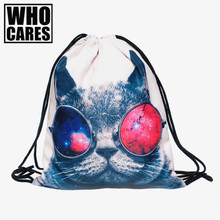 Galaxy sunglasses cat 3D Printing backpack women bag 2017 Fashion Travel Drawstring bag mochila feminina backpacks mini backpack