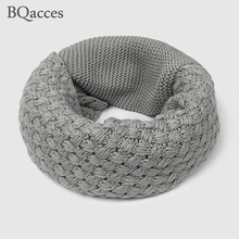 New women winter solid patchwork cable knit wool snood infinity scarf neck warmer cowl collar circle scarves bufandas cuellos