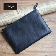 ALAVCHNV Handmade Kraft File Bag Male Leather Handbag Casual Handbag Bag Retro Simple Soft Leather Bag D002(China)