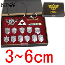 YNYNOO 14 Pcs The Legend of Zelda Action Figures Shield Skyward Sword Blade Weapons Pendants Keychains Necklace Set Silver Color