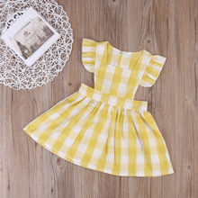 2017 Cute Summer Kids Baby Girls Plaids Ruffles Dress Princess Sleeveless Sundress Baby Girl Clothes Dress 1-6Y