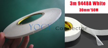 1x 30mm 3M 9448A White High Temperature Resistance Double Coated Tape for Cellphone Touch Screen Housing DVD