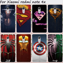 Cases For Xiaomi Redmi Note 4X Cover 4 X Note4X 5.5 inch Hard Plastic Soft TPU Cell Phone Bags Captain America Hood Housing