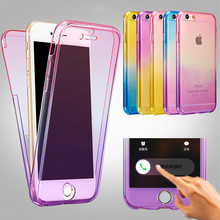 For IPhone 5 5s Se 6 6S 7 Plus Silicone Protective Clear Case Cover 360 Full Protector Shell Touch Screen Candy ColorsThin Slim