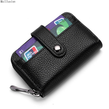 Buy Maillusion Vintage Rfid Wallet Case Genuine Leather Unisex Business Card Holder Wallet Hasp Men Women Bank Credit Card Purse for $8.15 in AliExpress store