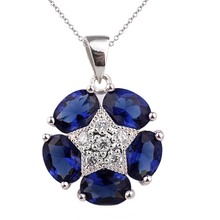 Women's Real 925 Sterling Silver Pendant Necklace 5-stone Oval Cubic Zirconia Crystal Jewelry 18-inch Cable Chain P031