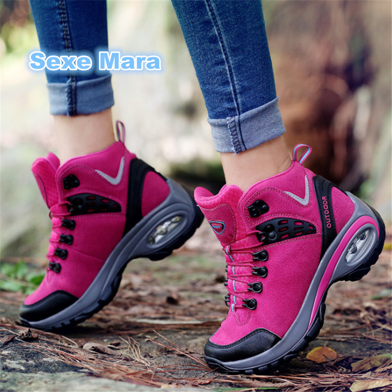 2017 winter Sneakers women shoes Running shoes woman leather Sport Shoes Air damping Fluff warm arena Athletic zapatos mujer<br>
