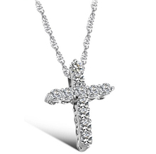 Fashion Silver plated Cross Christ Jesus necklace Religion women crystal rhinestone CZ sideways pendent necklace collar jewelry