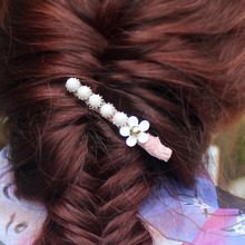 Girls Daisy Flower Hair Clip Retro Women Beaded Hairpins Jewelry Long Bobbypins