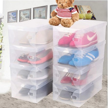 20pcs/lot Transparent Shoe Boxes Clear Plastic Storage Box Packaging Box For Women Kids(China)