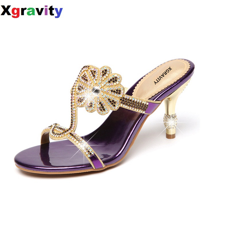 Sexy Summer Shoes Thin Heels Casual Dress Shoes Sexy Crystal Rhinestone Design Women Sandal Hot Ladies Flip Flop Slippers B266<br>