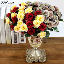 Silk Artificial Flowers European Fall Vivid Peony Fake Leaf Plastic Plants Wedding Home Party Decoration