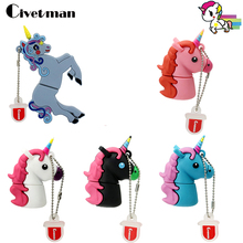 USB 64G Cartoon Cute Unicorn Flash Drive 32GB Pen Drive Horse USB Stick External Storage 16GB Pendrive 8GB 4GB Flash Memory Disk(China)