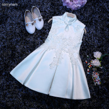 Fashion New Girls White Flower Children Cheongsam Lace Dress Cute  Catwalk Tutu Birthday Party Princess Evening Dress