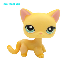 Short Hair Cat #339  girl's Collection LPS figure classic animal pet lps toys European kitty Yellow cat with blue eyes