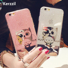 Bling Glitter owl Case for iPhone 7 7plus PC Hard Case Shining Cute Cartoon Animal Owl Phone Case For iPhone 7 6 6S Plus Capa(China)