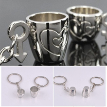 suti 1 Pair Metal CUP Key Chains Rings Holder For lovers'  KeyChains For Men Women High Quality Gift
