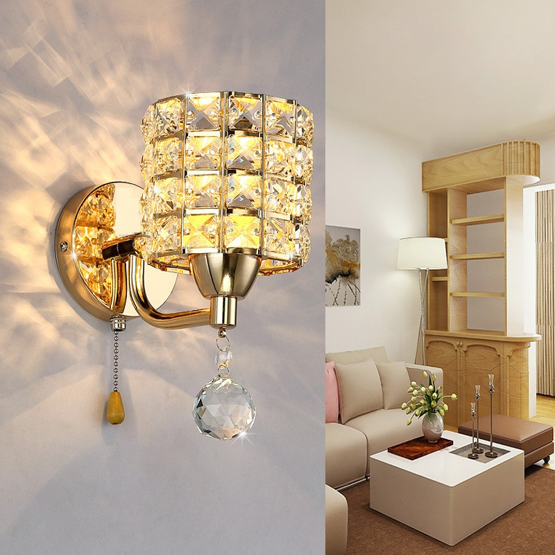 1X Creative modern golden Crystal wall lamp single head simple mirror front bedroom living room aisle corridor bedside lampa<br>
