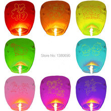 10Pcs/set Love Heart Sky Lantern Flying Wishing Lamp Hot Air Balloon Kongming Lantern Party Favors 90CM for Birthday Party