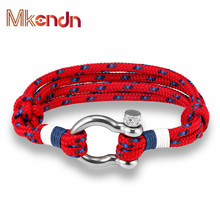 New Arrival Fashion Jewelry navy style Sport Camping Parachute cord Survival Bracelet Men Women Stainless Steel Shackle Buckle(China)