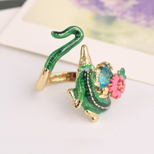 France Les Nereides Luxury Noble Crocodile Flower Gem Opening Ring For Women Good Quality Party Prom Jewelry(China)