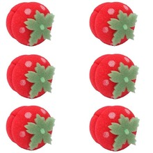 10pcs Cute Strawberry Hair Rollers Soft Foam Sponge Balls Curlers Curly Hair For Women Girls New Year(China)