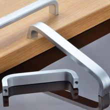 5 Lengths Solid/Hollow Silver Plate Space Aluminum Handle Kitchen Furniture Pulls Wardrobe Drawer Handle 64mm-192mm