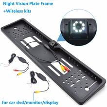 Car Rearview Camera Wireless Night Vision Number Plate EU License Frame Reverse Camera for Car Monitor(China)