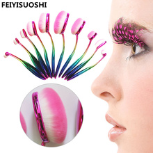 10Pcs Oval Makeup Brushes Kit Cosmetic Brush For Makeup Professional Set Soft Colorful Brushes Tools For Base Eyeshadow Eyebrow