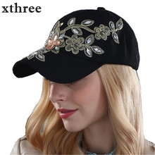 Xthree wholesale fall fashion Denim Baseball cap Sports Hat cap canvas Snapback caps hat for women good quality(China)
