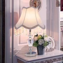 Chrome Luxury Modern Crystal Table Lamp Fabric Lampshade Living Room Bedroom Bedside Table Lights Home Lighting E27 110-220V(China)