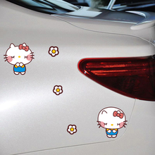 Cartoon Funny Hello Kitty Bow car Stickers Cover Scratches Decal For Mercedes Smart BMW E46 Kia vw skoda Polo Golf Toyota opel(China)