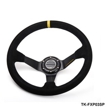 AUTOFAB - SP 350mm/14inch Deep Dished Sport Racing Suede Leather Alloy Steering Wheel DRIFTING TK-FXP03SP