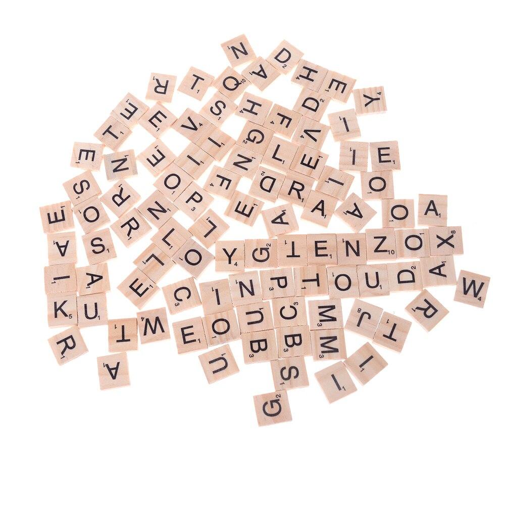 100 Unids Alfabeto De Madera Azulejos Scrabble N/úmeros de Letras Juguete Educativo para Juegos de Mesa Marco de Boda Arte de la Pared Reemplazo de Artesan/ía Joyer/ía Scrapbooking