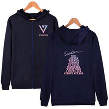 Kpop seventeen 2018 japan arena svt concert same printing zipper hoodie jacket fleece/thin unisex seventeen sweatshirt outwear(China)